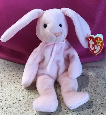 """TY Beanie Babies """"HOPPITY"""" the Pink Easter Bunny RABBIT - MWMTs! RETIRED #4117"""