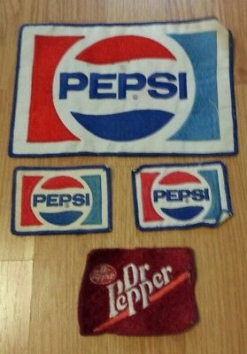 """3 PEPSI PATCHES & 1 DR PEPPER PATCH -1 large 8 3/4"""" - 3 small 3 1/2"""""""