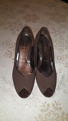 589b3aaf193c Womens Amalfi For NORDSTROM Brown Peep Toe Wedge Shoes Sz 8 1 2M Preowned