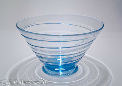 Huge WHITEFRIARS GLASS - Sapphire Blue - Ribbon trail Bowl by Tom Hill