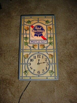 """Vintage Pabst Blue Ribbon Beer """"What'll You Have"""" Light Lighted Wall Clock Bar"""