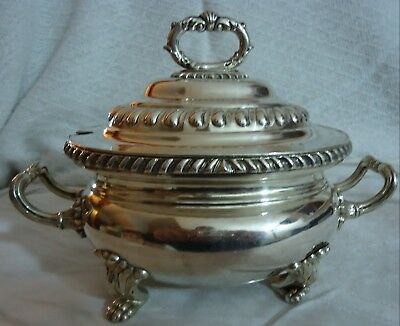 Vintage Silverplate Oval Covered Footed Gravy Sauce Boat Tureen Rope Design