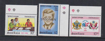 St Lucia 1986 Mint MNH overprinted SPECIMEN United States Peace Corps Kennedy