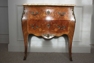 Chest Bombe Marquetry Marble Top