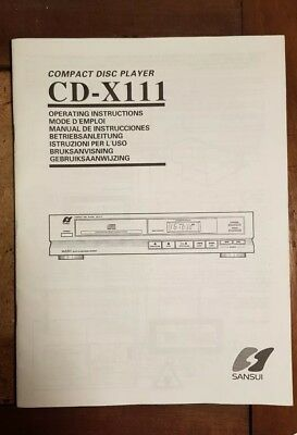 Sansui CD Player CD-X111 Operating Instructions / 42 pages