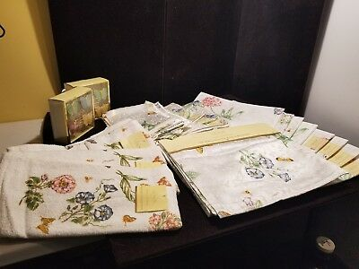 Lenox Butterfly Meadow Runner Placemats Napkins Rings Dish Towels New With Tags