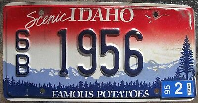 Vintage Idaho License Plate Unique Number 6B 1956  from year 1995 or earlier