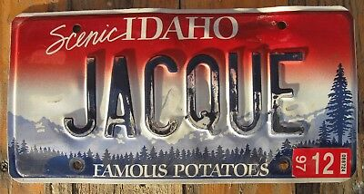 Scenic Idaho Vanity License Plate JACQUE Has some  wear dk