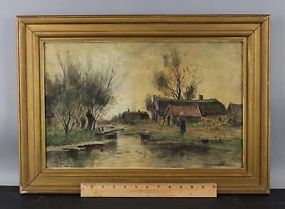 Antique Gerardus Johann Roermeester Dutch Farm Landscape Watercolor Painting