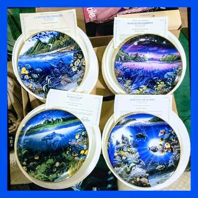 Danbury Mint Robert Lyn Nelson Underwater Paradise Set of 4 Plates w/Boxes