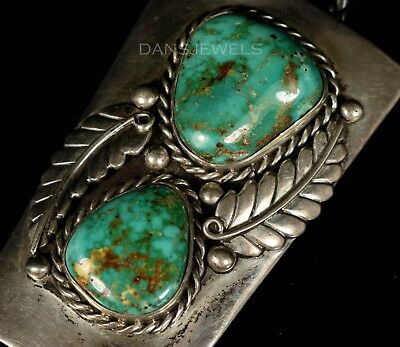 Huge Old Pawn Vintage Navajo Natural 2 Stone TURQUOISE Sterling Bolo Tie