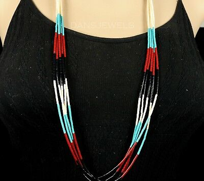 Old Pawn NAVAJO Natural Onyx Turquoise Coral Heishi Slip Over 5 Strand NECKLACE