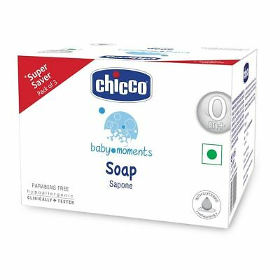 Chicco Baby Moments Soap, 300 grams (100 grams x Pack of 3) Vegetable based soap