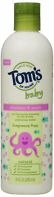 Tom's of Maine Fragrance Free Baby Shampoo and Wash, 10 oz
