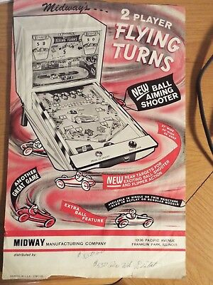 "1960's Midway's ""FLYING TURNS"" Raceing Pinball Advertising Flyer"