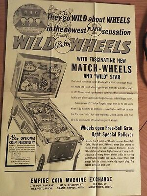 "1950-60's Bally's ""WILD WHEELS"" Pinball Advertising Flyer"