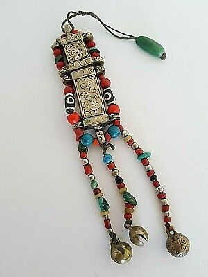 Turquoise Coral Dzi Silver Collectible Nepal Needle Case Holder pendant P19/1/01