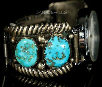 Old PAWN Navajo Vintage Sterling Men's Turquoise Watch Bracelet Flexi Style Band