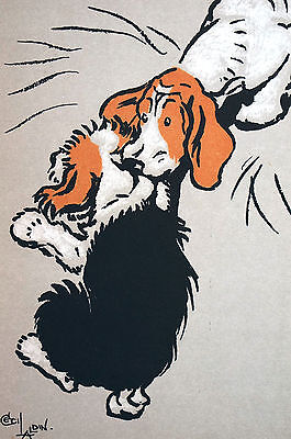 Cecil Aldin Dog Print c1900 FOX HOUNDS or BEAGLES Helping Hand Matted Lithograph