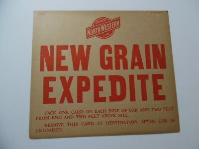 1930 Chicago North Western Railroad NEW GRAIN EXPEDITE Car Placard Sign Vintage