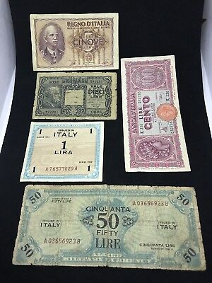 Mix Lot 5 Italy Banknote Paper Money 1944 100 Lire .