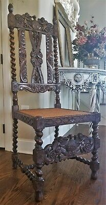 Antique English Carved Oak Barley Twist Renaissance Caned Chair Cherubs Eagles