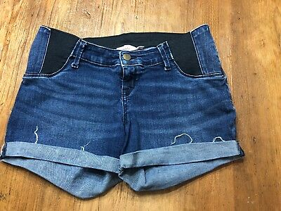 Maternity Jean Shorts Ingrid & Isabel Size 4 Side Stretch Rolled Cuff Midi Short