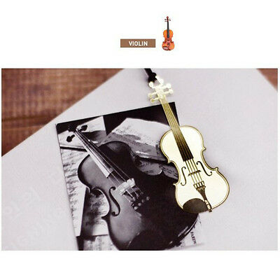 Hot Cute Gold Plated Metal Music Instruments Violin Bookmark Book Paper Reading