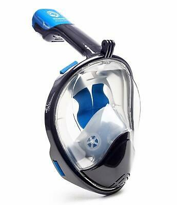 Seaview 180 Degree Panoramic Blue Snorkel Mask - Flat Full Face Design Navy L/XL