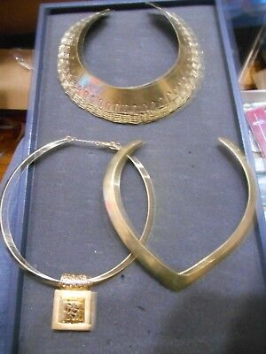Vintage Lot Of 3 Hard Collar Necklaces,2 Brass