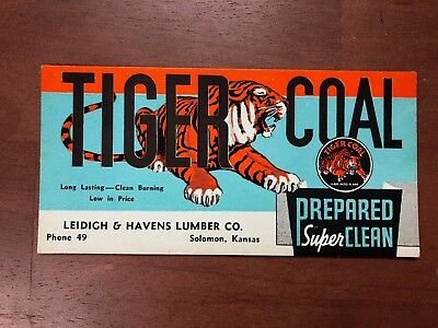 Vintage Ink Blotter Tiger Coal Solomon, Kansas Phone #49 Leidigh & Havens Lbr.
