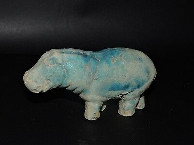 ANCIENT Egyptian Antique Hippo Statue Figurine Glazed hippopotamus faience Rare