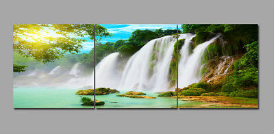 Spring Trees Great Waterfall Landscape Painting Canvas Abstract Art Wall Decor