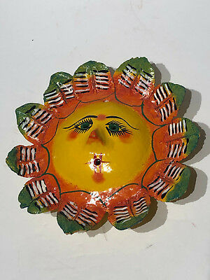 Mexican Folk Art Hand Painted Coconut Shell Face With Leave Mane Wall Art