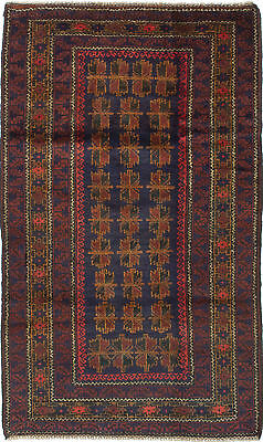"""Hand-knotted Carpet 3'5"""" x 5'11"""" Traditional Vintage Wool Rug"""