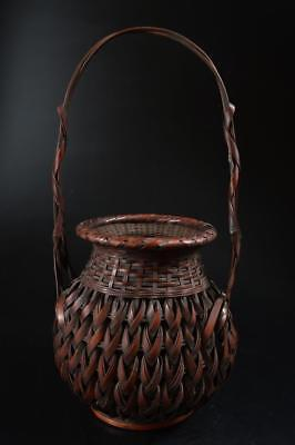 G4762: Japanese Bamboo Wickerwork/Ajiro-shaped FLOWER BASKET flower vase/case