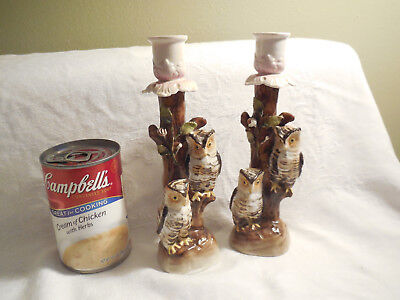 Antique Germany Conta Boehme Two Owls Candlestick PAIR  RARE