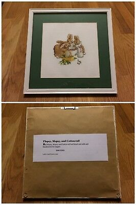 Set of 10 Beatrix Potter Framed and Matted Cross Stitch Peter Rabbit Scenes
