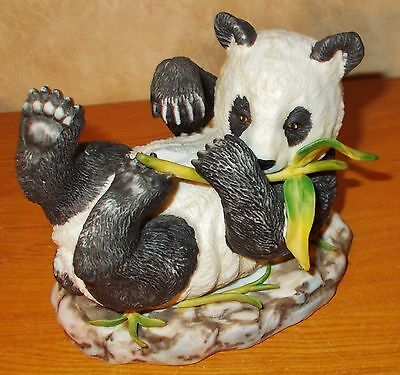 Vintage Lefton Panda Figurine #1696 - Hand Painted - Laying on Back with Bamboo