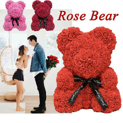 Teddy Bear Lovely Big Red Rose Flower Bear Toys Creative Valentine's Gifts Decor