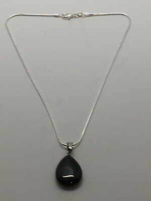 Black Tourmaline - Water Drop Pendant Including the Sterling Silver Chain