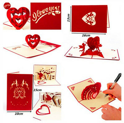 3D Pop Up Greeting Card Engagement Wedding Birthday Valentine's Day Gifts 2019