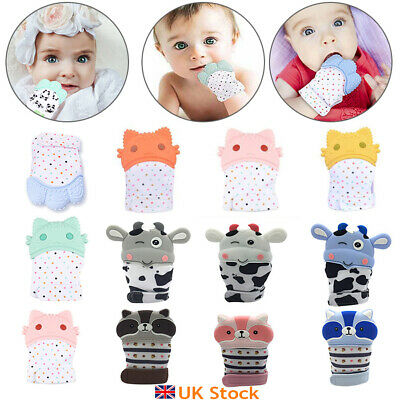 UK Baby Silicone Mitts Teething Mitten Teething Molar Glove Wrapper Soft Teether