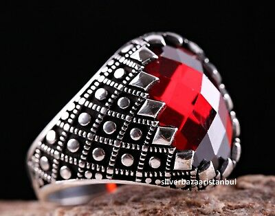 Turkish Handmade 925 Sterling Silver red ruby stone Mens ring ALL SİZE us 356