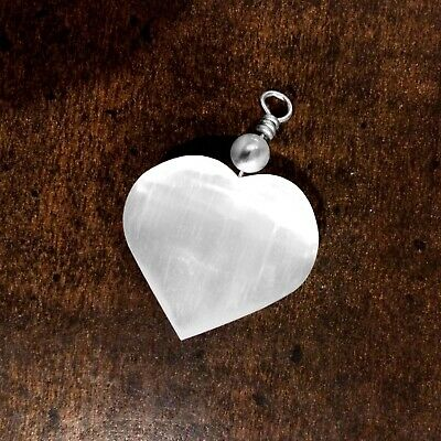 Selenite Crystal Heart Pendant Chakra Love Stone Sterling Silver Necklace CHARGE