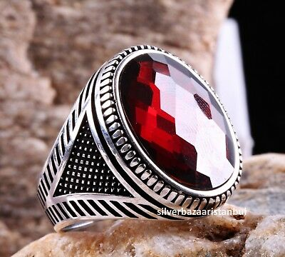 Turkish Handmade 925 Sterling Silver red ruby stone Mens ring ALL SİZE us 368