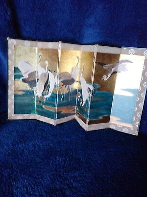 Vintage Japanese / Chinese Table Divider Screen On Silk 6 Panels.