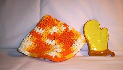 Kitchen #866 42 .3284  Ceramic Oven Mitt Spoon Rest & Crocheted Utilitty Cloth