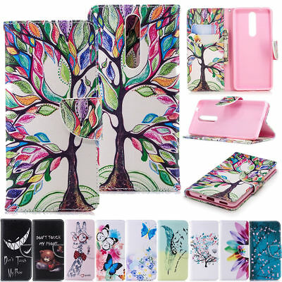 For Nokia 2.1/3.1/5.1/6.1 2018 Patterned PU Leather Wallet Flip Stand Case Cover
