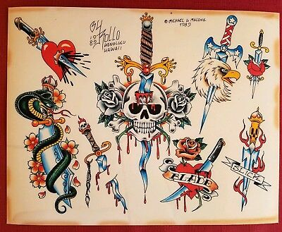 mike rollo banks malone '89 vintage tattoo flash dagger skull fine art print